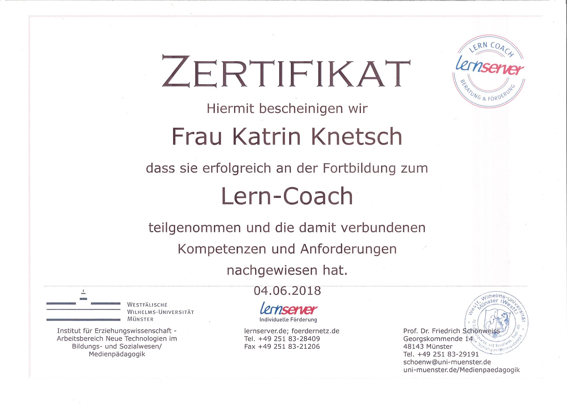 Lernserver - Zertifikat Katrin Knetsch